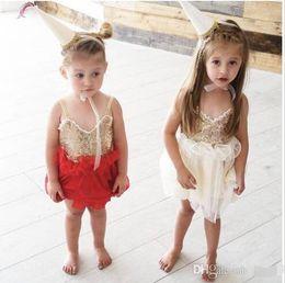 Wholesale Girls Petal Dress - 2016 Baby Girls Tulle Lace Sequined Dresses Kids Girl Princess tutu V-neck Dress Girl Summer Party Dress Babies Clothes
