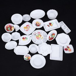 Wholesale Cup Plates - 2017 Hot Sale 33pcs Set Doll Kitchen Mini Tableware Miniatures Cup Plate Dish Decor Ktchen Toys For Children