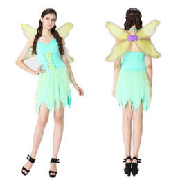 Wholesale Green Elf Costume - Halloween dragonfly outfit Elf angel suit Beautiful faery masquerade role-playing stage performance clothing