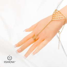 Wholesale Spike Gold Rings - Triangle Bracelet ring Punk Metal Gold Silver Plated Triangle Shape Spike Chain Hand Finger Ring Bracelet