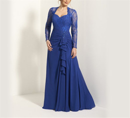 Wholesale Dark Red Brides Maid Dresses - Sweetheat Long Sleeves Applique Royal Blue Chiffon Mother of the Bride Dress Ruffles Front Keyhole Back A-line Maid Dresses