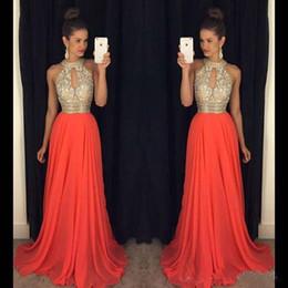 Bling orange prom vestidos on-line-2016 Barato Prom Vestidos Jewel Keyhole Neck Ilusão Longo Chiffon De Cristal Frisado Bling Trem Da Varredura Plus Size Vestido de Noite Vestidos de Festa