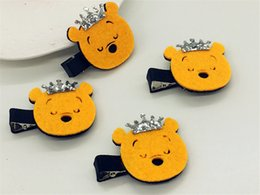 Wholesale Hairpins Teddy - New 10PCS Cute Felt Teddy with Glitter Tiaras Baby Girls Hairpin Cartoon Bear Baby Hair Accessories