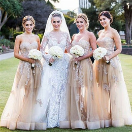 Wholesale Wedding Dresses Convertible Skirt - 2016 Sexy Beaded Lace Wedding Guest Party Dress Sheer Skirt Floor Length Bridesmaid Dresses Maid of Honor Gowns New Arrival