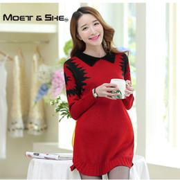Wholesale Korean Winter Wear Women - Wholesale- Autumn  Winter Korean Loose Women Maternity Sweater Dress Pullovers Jumper Turn Down Collar Crotchet Knit Wear C68266H