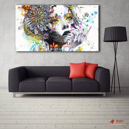 Wholesale Canvas Painted Wall Art - Large Canvas Painting Modern wall art girl with flowers oil painting Printed on canvas Pictures For Home Decor Living Room