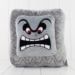 Wholesale Cute Mario Bros - Cute Super Mario Bros Plush Soft Toys Cushion Pillow Thwomp Dossun plush pillow 30cm Free shipping