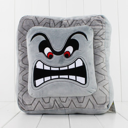 Wholesale Gray Mario - Cute Super Mario Bros Plush Soft Toys Cushion Pillow Thwomp Dossun plush pillow 30cm Free shipping