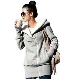Wholesale Coat Warm Zip Up Outerwear - Womens Hoodies Sweatshirts Winter Autumn Warm Fleece Cotton Zip Up Coat Outerwear Hooded Jacket Casual Long Tops