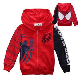 Blousons enfants spiderman en Ligne-Au détail 2017 Enfants Garçons Vêtements Vêtements Manteaux Spiderman Veste Garçons Hoodies de bande dessinée manteau Bébé Enfants sweat à manches longues