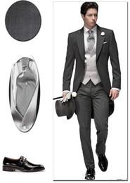 Wholesale Elegant Black Suits For Men - Tailored Elegant Bridegrom Gray morning suit Wedding tuxedo for men groomwear 5 pieces suits iset(jacket+pants+tie+vest+flower+Pocketsqure)