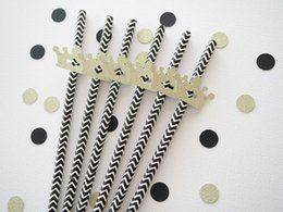 Wholesale Crown Shower Favors - cheap Set of 24 DIY gold glitter crown black Chevron Paper Straws party decorations wedding birthday bridal baby shower favors