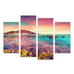Cuadros del panel paisaje online-4 Paneles HD Prited Seascape Canvas Art Prints Sunset Shore Reef Scenery Island Imagen de pared para Living Room / SJMT1910