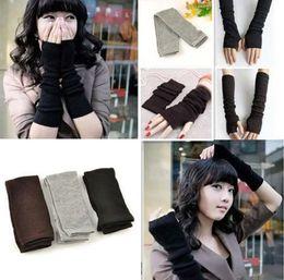 Wholesale Long Sleeve Gloves Fashion - New winter women warm knitting long gloves half finger finger wrist without finger gloves warm sleeves YYA564