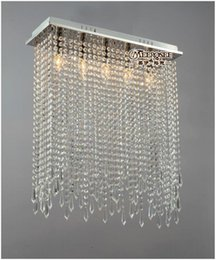 Wholesale Crystal Clear Curtain - Rectangle Shape Crystal Ceiling Lights Fixture Clear Curtain Crystal Light lustres Lamp for dining room and bedroom MD10039