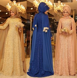 Wholesale Sexy Bandaged Ankle - 2016 hare evening dresses muslim hijab prom gowns lace beaded arabic kaftans dresses dubai abayas muslim evening gowns islamic clothing