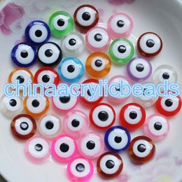 Wholesale Making Resin Beads - 200pcs 6*11MM Resin Flat Round Evil Eye Beads Charms Loose Spacer Beads For Jewelry Making