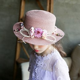 Wholesale Sun Hats For Baby Straw - Baby girls sunhats Summer Kids Floral Straw Hats Children Visor Beach Sun Baby Girls Sunhat Wide Brim Floppy bohemia For Girl T5056