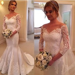 Wholesale Laced White Sleeved Dress - 2017 Vestido De Noiva Sereia Off The Shoulder Long Sleeved Wedding Dresses Gowns Satin Appliques Lace Mermaid Fall Bridal Gowns