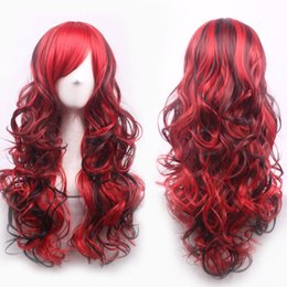 Wholesale Long Dark Red Wavy Wig - 70cm Long Curly Wavy Cosplay Synthetic Lace Front Wig Tilted Frisette Women Wigs Hair Wig Girl Gift Dark Red Black Free Shipping