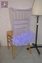 Wholesale Organza Chair Sashes Lavender - 2016 Romantic Lavender Chair Sashes Organza Ruffles Chair Covers Cheap Beautiful Wedding Decorations Elegant Wedding Supplies C022
