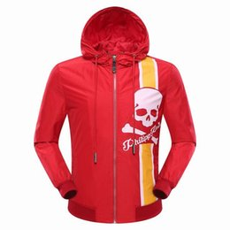 Wholesale Slim Style Cotton Hoodies - Hot arrive Arrive Tide brand Mens Winter Desinger Windbreaker Jacket Sporty Hoodie Style Printing Skulls Men Casual Jacket P9030-9032
