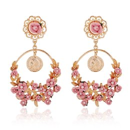 Wholesale Girls 14k Gold Stud Earrings - Wholesale&Retail Elegant Rural Style Earrings Women's Fresh Flower Stud Vintage Big Round Hoop Earring Girls 4 Colors Stud Earring