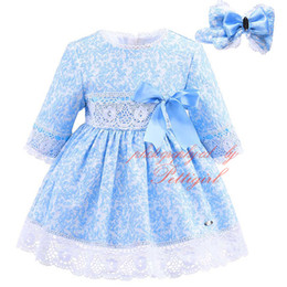 Wholesale Full Hairbands - Pettigirl Wathet Blue Boutique Lace Jacquard Dress For Girls With Bow Hairbands Baby Full Sleeve Clothes Children Spring Wear G-DMGD908-902