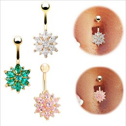 Wholesale Barbell Belly Button - Flower Bell Button Rings 3 Colors Cubic Zirconia Navel Bar Barbell Body Piercing Belly Button Ring Women 3 Colors
