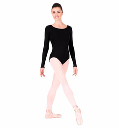 Wholesale Orange Dancewear - Wholesale-Adult Gymnastics Long Sleeve Leotard Bodysuit Womens Spandex Lycra One Piece Dance Leotard Dancewear