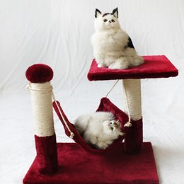 Wholesale Cat Tree Condo House - Cats Tree Tower Condo Furniture Three Colors Pet House Play Platform Plush Cloth Cat Nest Toy Fashion 49zf B