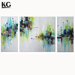 Wholesale Group Oil Paintings - KG 3 Sets Abstract Paintings Mini Floral Green And Blue Combination Group Artwork on Canvas for Living Room Wall Art Decor