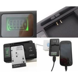 Wholesale Universal Battery Usb Charger Adapter - Universal Intelligent LCD Indicator battery Charger For samsung GALAXY S4 I9500 S3 I9300 NOTE 3 S5 with usb output charge US EU AU PLUG 50