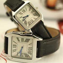 Wholesale Women Watch Leather Band - 2016 Hot Luxury Brand Square Dial Leather Band Leisure Sports Wrist Fashion Watch for Men Women