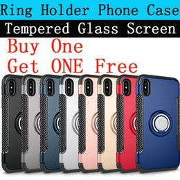 Wholesale Glass Ring Stand - For Iphone 8 X Ring Holder Phone Cases Armor Protective Cover Circular Phone Stand Support Get Glass Screen Protector Free