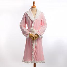 Wholesale Pink Polka Dot Robe - Wholesale-Winter Warm Women Lace Robes Romantic Thicken Flannel Long Sleeve Sleepwear Robe Pajamas