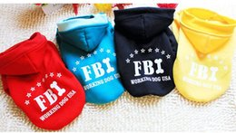 Wholesale Red Dog Sweater Small - 100% Cotton Small Pet Dog FBI Printed Hoodies Coat Sweater For Puppy Cat Coat Autumn Winter Costume Apperal Coat Top Quality