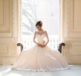 Wholesale Long Barato - Vestido De Noiva Barato Elegant Long Sleeve Lace Bride Wedding Dresses 2016 Princess Chiffon Bridal Gowns
