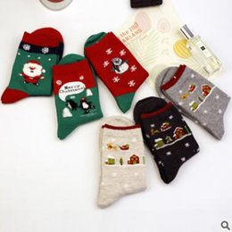 Wholesale Teens Cute - Kids Christmas Socks For Ladies Teens Top Quality FALL Winter Cute Penguin Fox Snowmen Xmas Cotton Socks Ladies Lace Ankle Socks Korea Sock