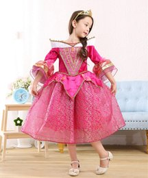 Wholesale Sleeping Beauty Dress Wholesale - New Arrival Girls Sleeping Beauty Dress Pagoda Sleeve Princess Aurora Cosplay Halloween Costume pink dress