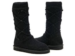 Wholesale Knitted Calf Boots - Winter Casual woman's Snow Boots Pure Color Round Toe Slip On Ladies Short Tube Knitting Wool Boots Warm Shoes