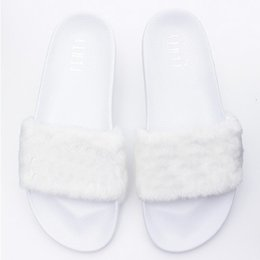 Wholesale Wholesale Soft Slide - Leadcat Fenty Rihanna Shoes Fashion Women Slippers 4 Colors Indoor Shoes Fur Slides Without Box High Quality