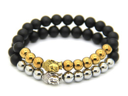 Wholesale Magnetic Hematite Stone - Hot Sale Jewelry Black Matte Agate Energy Stone Beads, No Magnetic Hematite Beads Antique Gold and Silver Buddha Bracelets