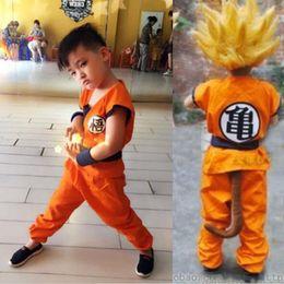 Wholesale Dragon Ball Z Goku Costume - Boy girls kids Dragon Ball Z Son GoKu Cosplay Costume suit Children Turtler Cosplay Clothing Halloween Japan Cartoon Dragonball Jacket Coat