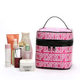 Wholesale Large Fabric Storage Bags - Free Shipping Women Brand Fahion Pink Makeup Bag Large Capacity Portable Cosmetic Bag Cases Pretty Storage Bag Organizer
