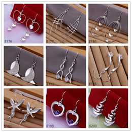 Discount chandelier china wholesale - High grade women's sterling silver earring 10 pairs a lot mixed style EME24,wholesale fashion 925 silver Dangle Chandelier earrings