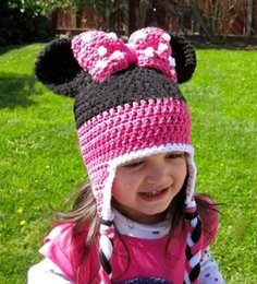 Wholesale Hand Knitted Children Hat - Minnie Mouse Beanies Kids Girls Hats Fashion Bowknot Wool Cap Baby Cartoon Crochet Hat Children Hand Knitted Caps New Fashion Hot Sale