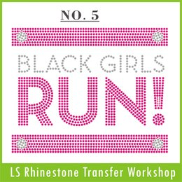 Wholesale Rhinestone Cross Iron Transfer - Fashion Black Girls RUN custom iron-on rhinestone transfer FAST shippment from China