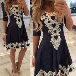 Wholesale Green Pleated Mini Skirt - 2016 Lace Appliques Navy Blue Homecoming Dresses Jewel Neck 3 4 Sleeves Mini Short Skirts Cocktail Dresses Zipper Back Prom Gowns