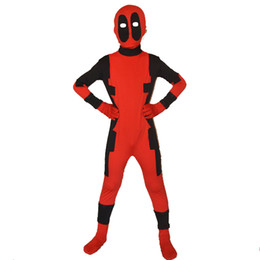 Wholesale Costumes For Kids Deadpool - 2016 free shipping children deadpool costume fullbody red black kids deadpool costumes for halloween party show